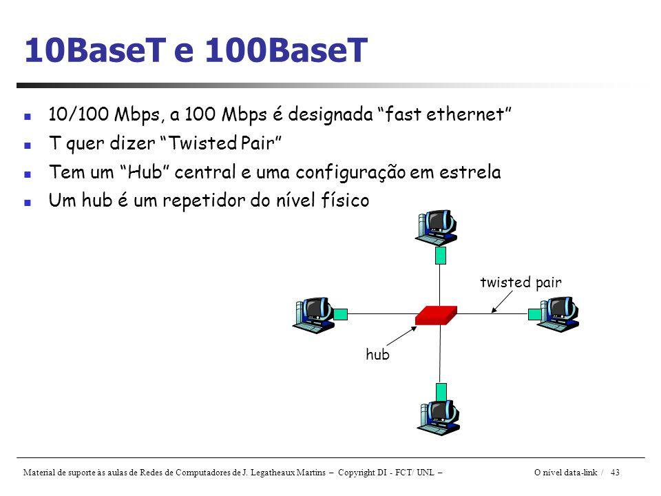 Material de suporte às aulas de Redes de Computadores de J. Legatheaux Martins – Copyright DI - FCT/ UNL – O nível data-link / 43 10BaseT e 100BaseT 1