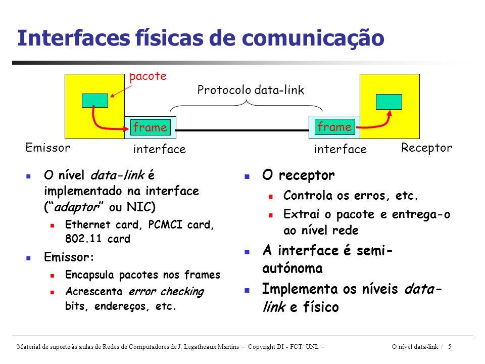 Material de suporte às aulas de Redes de Computadores de J. Legatheaux Martins – Copyright DI - FCT/ UNL – O nível data-link / 5 Interfaces físicas de