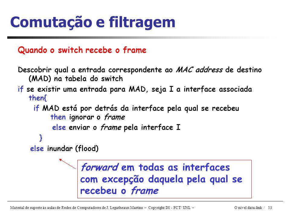 Material de suporte às aulas de Redes de Computadores de J. Legatheaux Martins – Copyright DI - FCT/ UNL – O nível data-link / 53 Comutação e filtrage