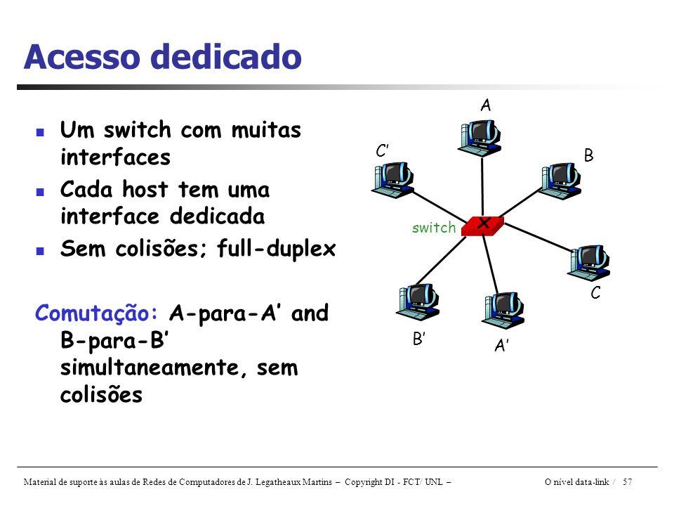 Material de suporte às aulas de Redes de Computadores de J. Legatheaux Martins – Copyright DI - FCT/ UNL – O nível data-link / 57 Acesso dedicado Um s