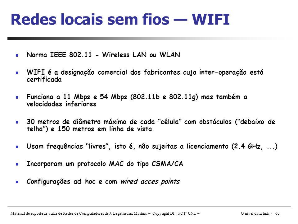 Material de suporte às aulas de Redes de Computadores de J. Legatheaux Martins – Copyright DI - FCT/ UNL – O nível data-link / 60 Redes locais sem fio