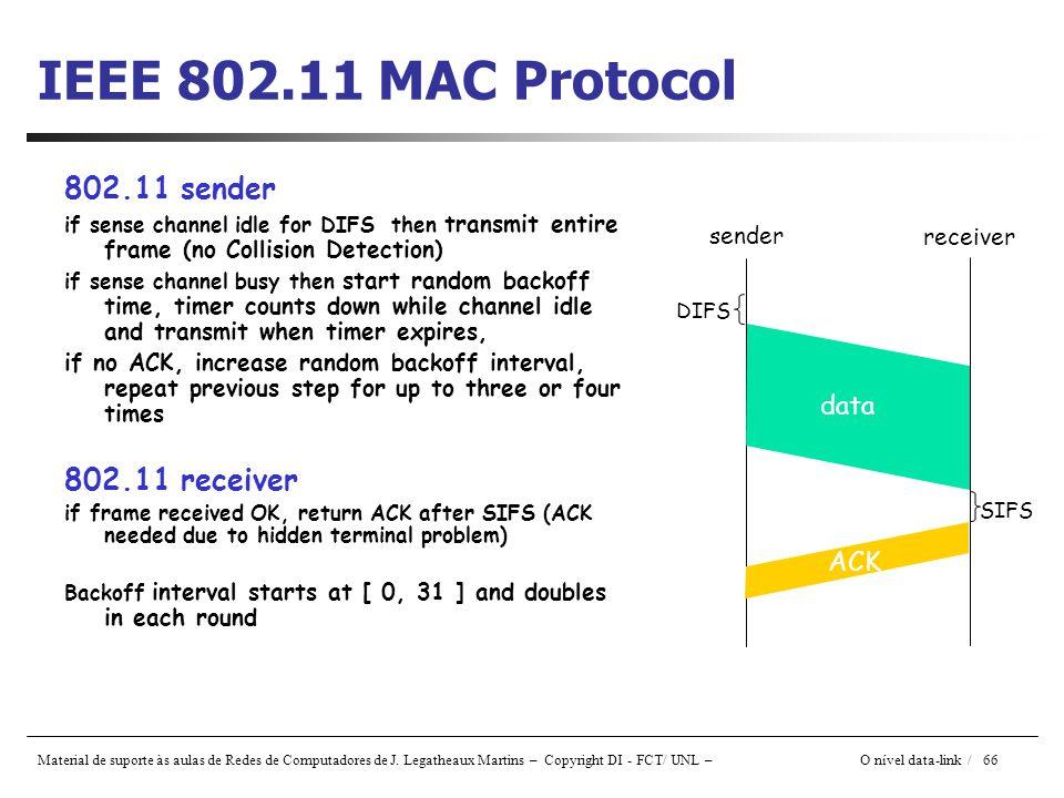 Material de suporte às aulas de Redes de Computadores de J. Legatheaux Martins – Copyright DI - FCT/ UNL – O nível data-link / 66 IEEE 802.11 MAC Prot
