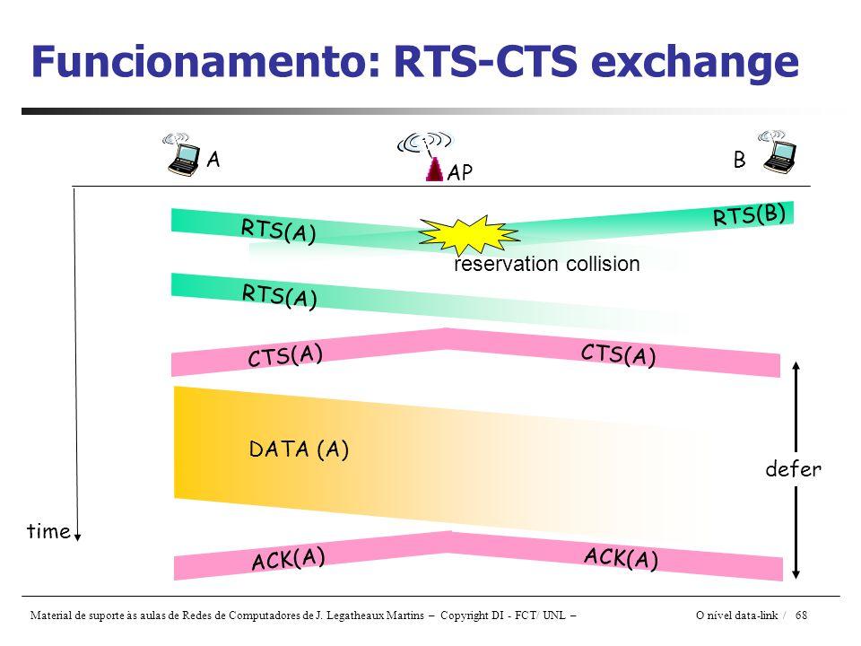 Material de suporte às aulas de Redes de Computadores de J. Legatheaux Martins – Copyright DI - FCT/ UNL – O nível data-link / 68 Funcionamento: RTS-C