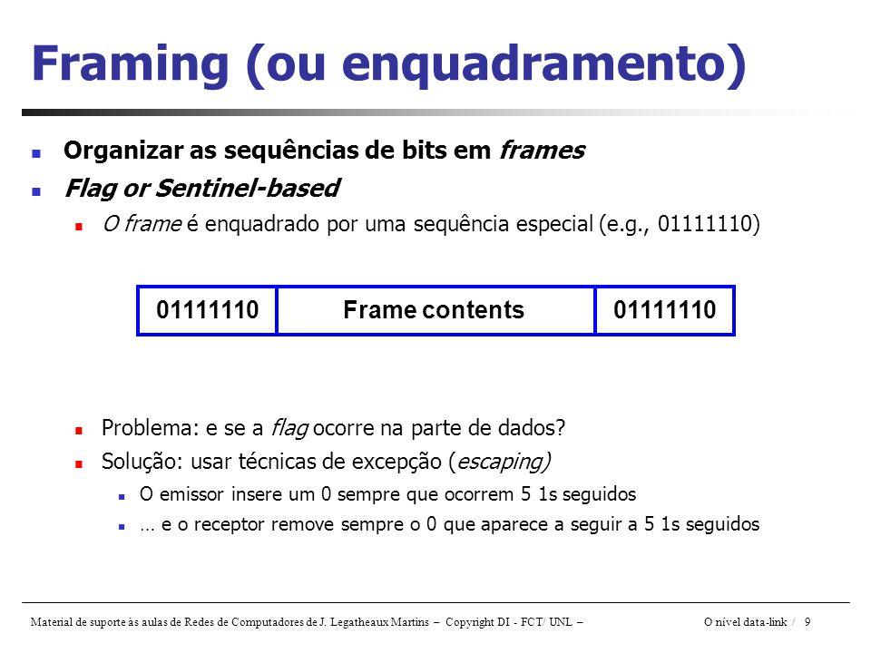 Material de suporte às aulas de Redes de Computadores de J. Legatheaux Martins – Copyright DI - FCT/ UNL – O nível data-link / 9 Framing (ou enquadram