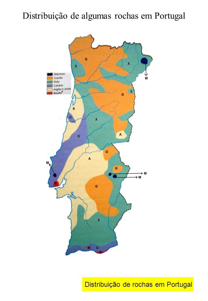 Distribuição de algumas rochas em Portugal Distribuição de rochas em Portugal