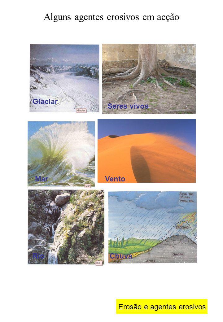 Erosão e agentes erosivos Alguns agentes erosivos em acção Glaciar Seres vivos MarVento RioChuva