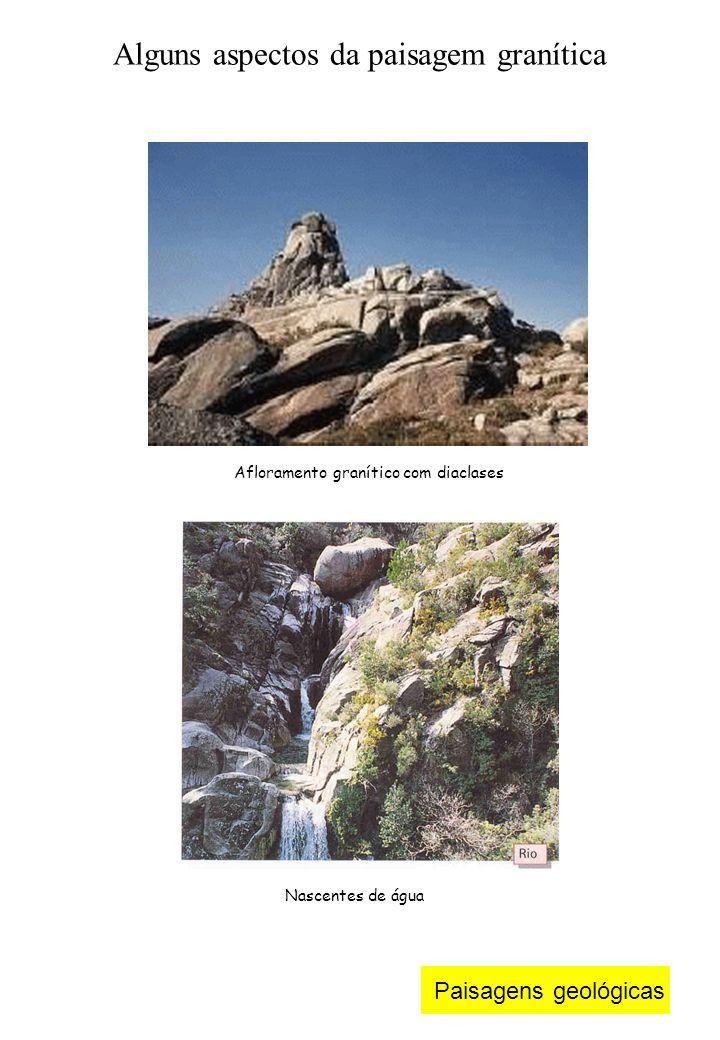 Paisagens geológicas Afloramento granítico com diaclases Alguns aspectos da paisagem granítica Nascentes de água