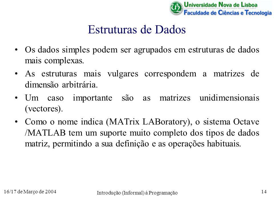 16/17 de Março de 2004 Introdução (Informal) à Programação 14 Estruturas de Dados Os dados simples podem ser agrupados em estruturas de dados mais complexas.