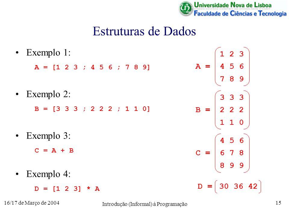 16/17 de Março de 2004 Introdução (Informal) à Programação 15 Estruturas de Dados Exemplo 1: A = [1 2 3 ; 4 5 6 ; 7 8 9] Exemplo 2: B = [3 3 3 ; 2 2 2 ; 1 1 0] Exemplo 3: C = A + B Exemplo 4: D = [1 2 3] * A 1 2 3 A = 4 5 6 7 8 9 3 3 3 B = 2 2 2 1 1 0 4 5 6 C = 6 7 8 8 9 9 D = 30 36 42