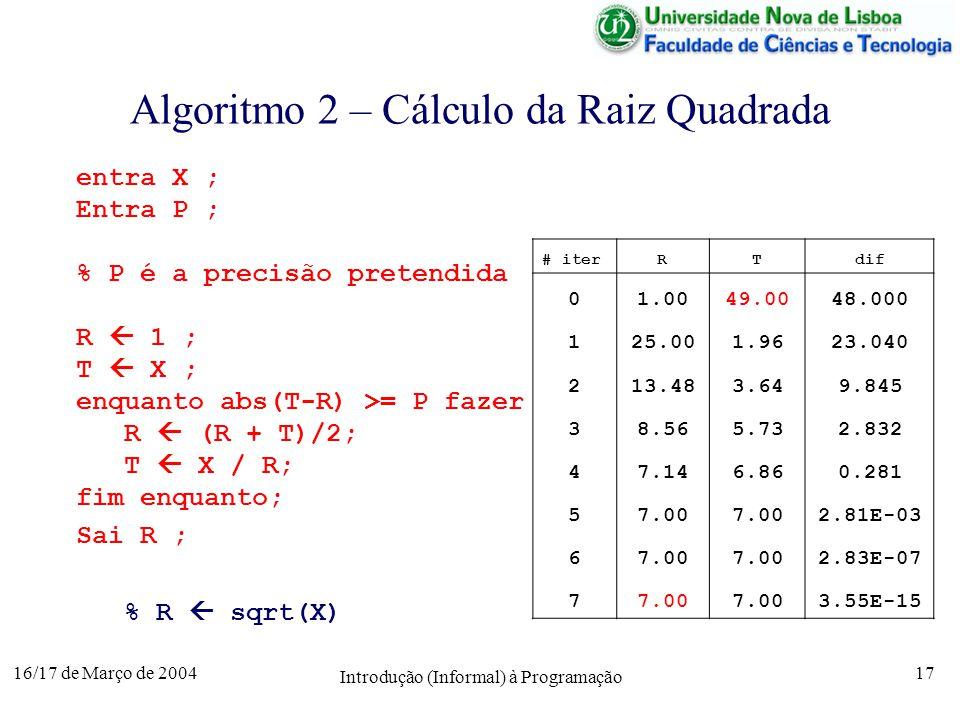 16/17 de Março de 2004 Introdução (Informal) à Programação 17 Algoritmo 2 – Cálculo da Raiz Quadrada # iterRTdif 01.0049.0048.000 125.001.9623.040 213.483.649.845 38.565.732.832 47.146.860.281 57.00 2.81E-03 67.00 2.83E-07 77.00 3.55E-15 entra X ; Entra P ; % P é a precisão pretendida R 1 ; T X ; enquanto abs(T-R) >= P fazer R (R + T)/2; T X / R; fim enquanto; Sai R ; % R sqrt(X)