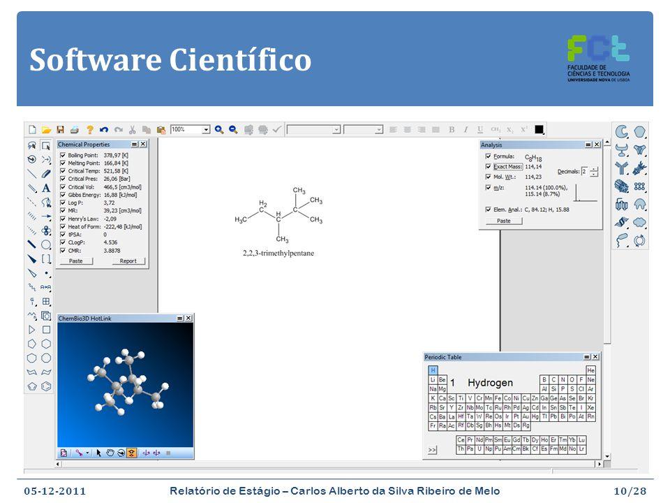 Software Científico ChemBioDraw Ultra (http://www.cambridgesoft.com/software/chembiodraw/) 05-12-2011 Relatório de Estágio – Carlos Alberto da Silva Ribeiro de Melo 10/28 Desenhar estruturas de compostos em 2D e em 3D Previsão de propriedades físicas e químicas de compostos Como se faz química atualmente