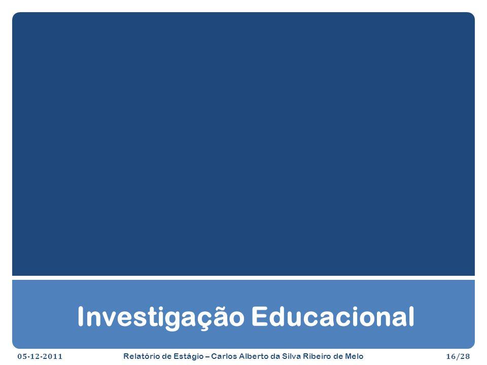 Investigação Educacional 05-12-201116/28 Relatório de Estágio – Carlos Alberto da Silva Ribeiro de Melo