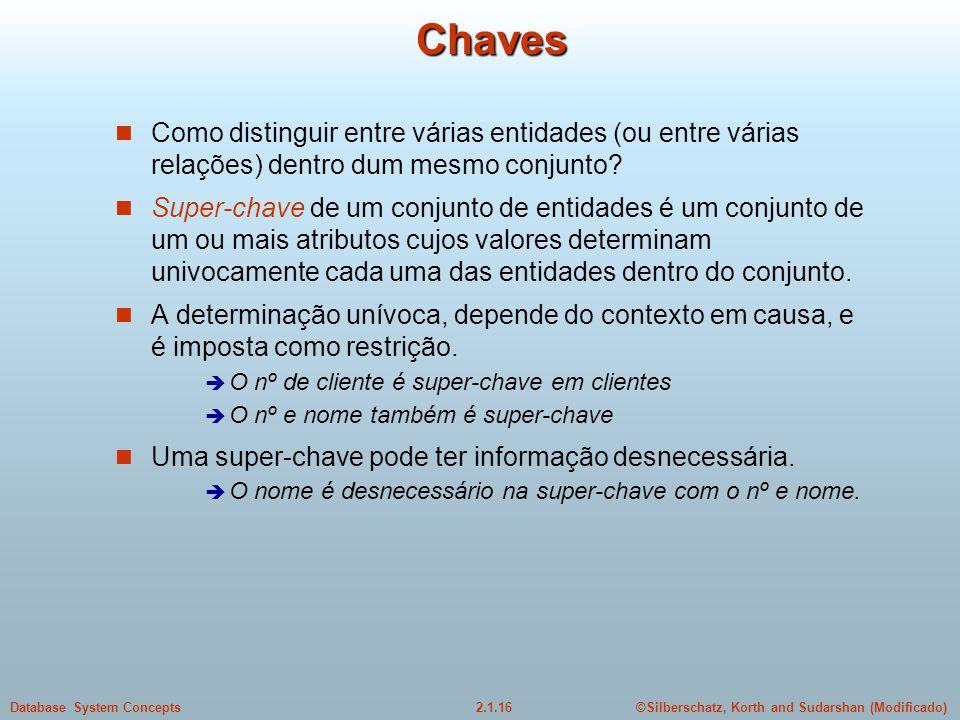 2.1.16Database System Concepts©Silberschatz, Korth and Sudarshan (Modificado) Chaves Como distinguir entre várias entidades (ou entre várias relações)
