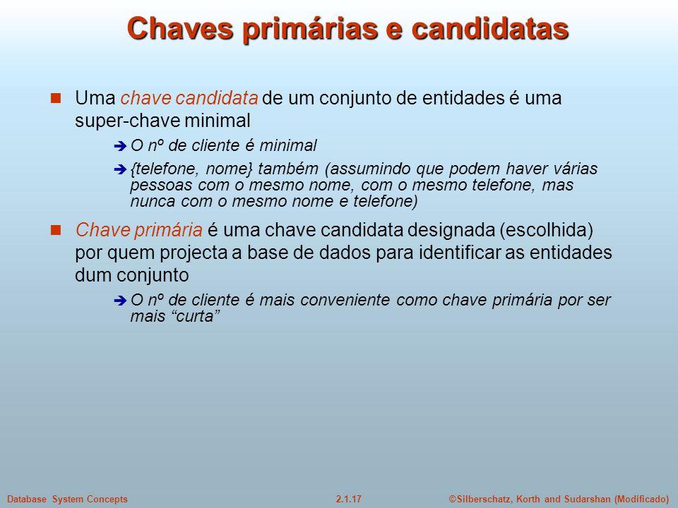 2.1.17Database System Concepts©Silberschatz, Korth and Sudarshan (Modificado) Chaves primárias e candidatas Uma chave candidata de um conjunto de enti