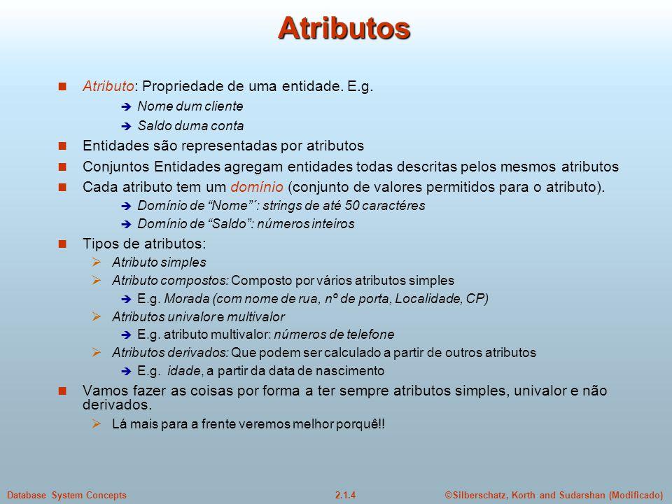 2.1.4Database System Concepts©Silberschatz, Korth and Sudarshan (Modificado) Atributos Atributo: Propriedade de uma entidade. E.g. Nome dum cliente Sa