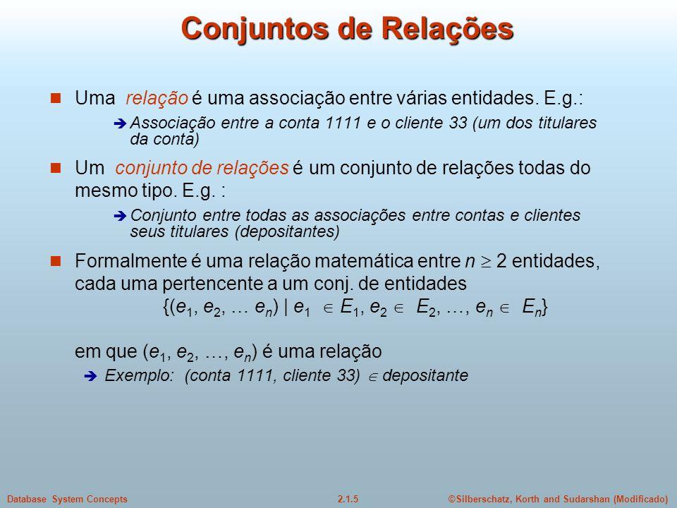 2.1.6Database System Concepts©Silberschatz, Korth and Sudarshan (Modificado) Exemplo de Relações Uma relação pode ter atributos adicionais Data em que um cliente movimentou uma conta pela última vez (data de acesso) Entidade Conjunto Entidade Relação Conjunto Relação 9/1/99 6/3/99 6/2/99 2/2/99