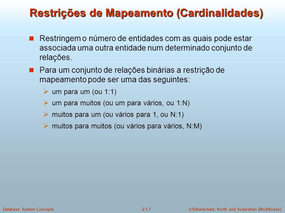 2.1.7Database System Concepts©Silberschatz, Korth and Sudarshan (Modificado) Restrições de Mapeamento (Cardinalidades) Restringem o número de entidade