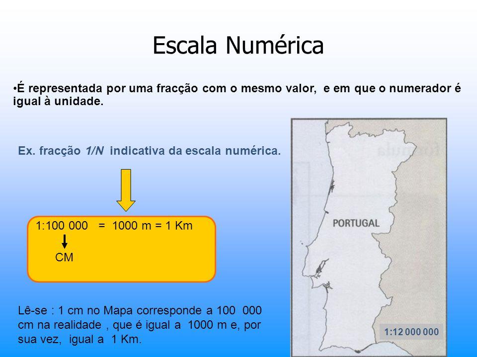 Escala Numérica É representada por uma fracção com o mesmo valor, e em que o numerador é igual à unidade. 1:12 000 000 Ex. fracção 1/N indicativa da e
