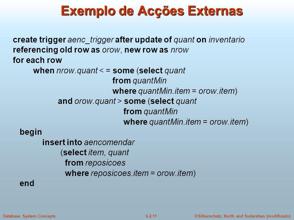 ©Silberschatz, Korth and Sudarshan (modificado)6.2.11Database System Concepts Exemplo de Acções Externas create trigger aenc_trigger after update of q