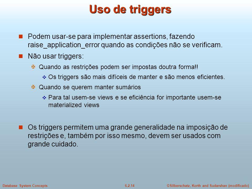 ©Silberschatz, Korth and Sudarshan (modificado)6.2.14Database System Concepts Uso de triggers Podem usar-se para implementar assertions, fazendo raise
