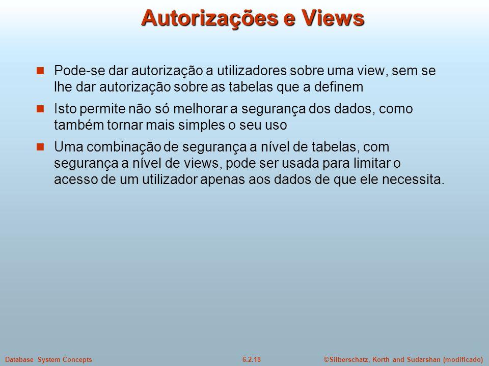 ©Silberschatz, Korth and Sudarshan (modificado)6.2.18Database System Concepts Autorizações e Views Pode-se dar autorização a utilizadores sobre uma vi