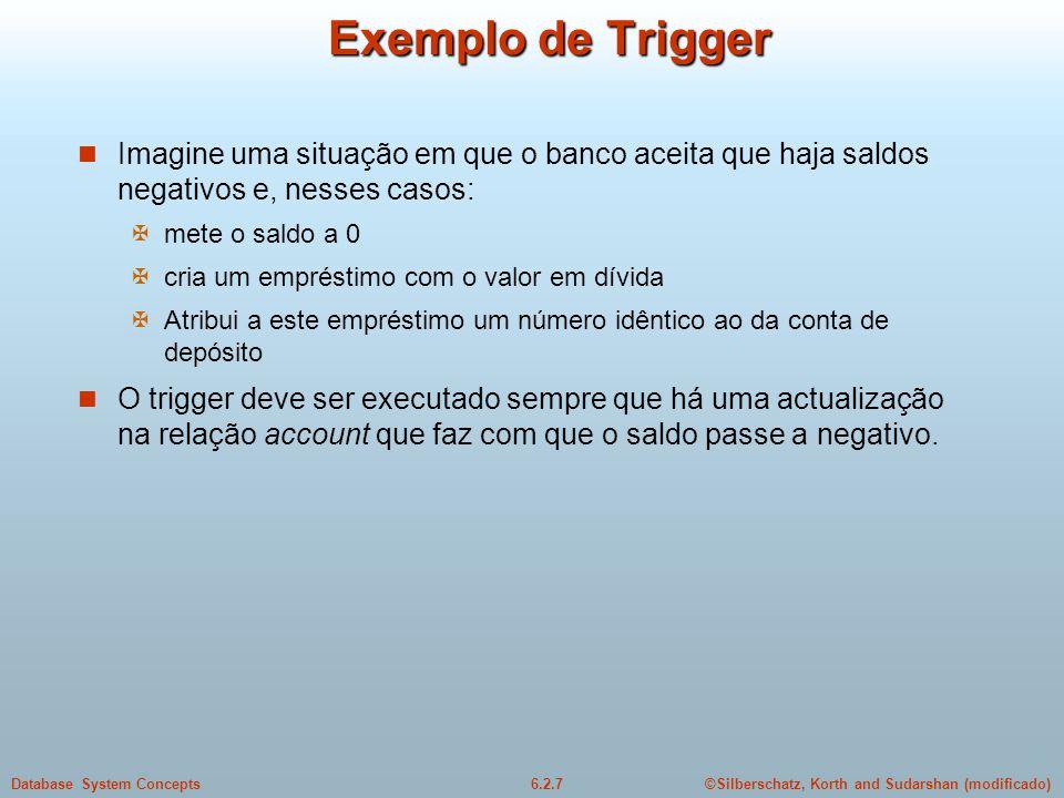 ©Silberschatz, Korth and Sudarshan (modificado)6.2.7Database System Concepts Exemplo de Trigger Imagine uma situação em que o banco aceita que haja sa