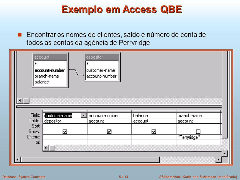 ©Silberschatz, Korth and Sudarshan (modificado)5.1.14Database System Concepts Exemplo em Access QBE Encontrar os nomes de clientes, saldo e número de conta de todos as contas da agência de Perryridge