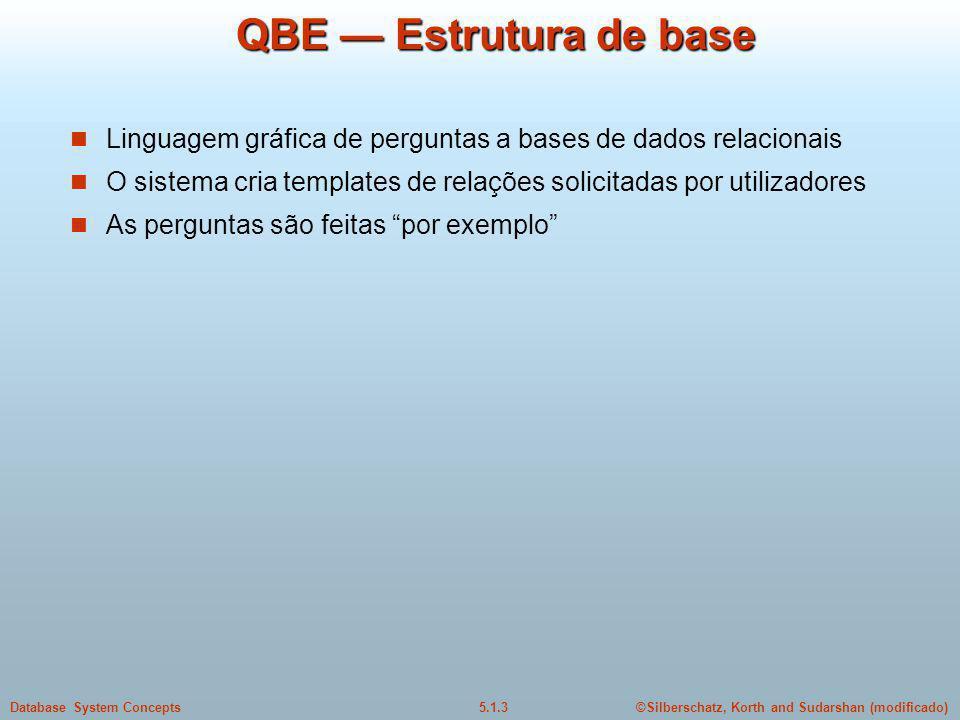 ©Silberschatz, Korth and Sudarshan (modificado)5.1.3Database System Concepts QBE Estrutura de base Linguagem gráfica de perguntas a bases de dados relacionais O sistema cria templates de relações solicitadas por utilizadores As perguntas são feitas por exemplo