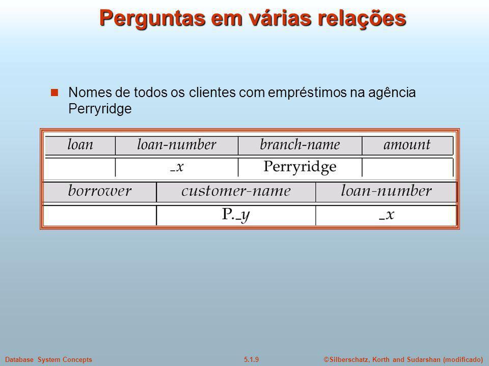 ©Silberschatz, Korth and Sudarshan (modificado)5.1.9Database System Concepts Perguntas em várias relações Nomes de todos os clientes com empréstimos na agência Perryridge
