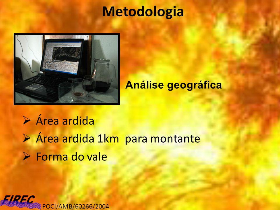 POCI/AMB/60266/2004 Metodologia Análise geográfica Área ardida Área ardida 1km para montante Forma do vale