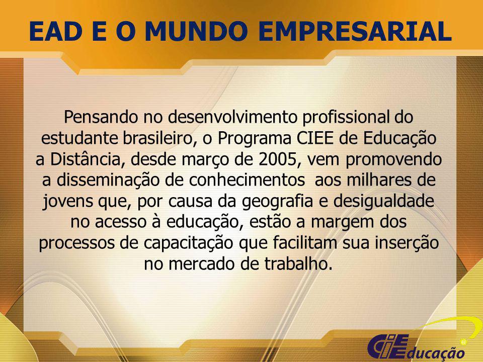 Pensando no desenvolvimento profissional do estudante brasileiro, o Programa CIEE de Educação a Distância, desde março de 2005, vem promovendo a disse
