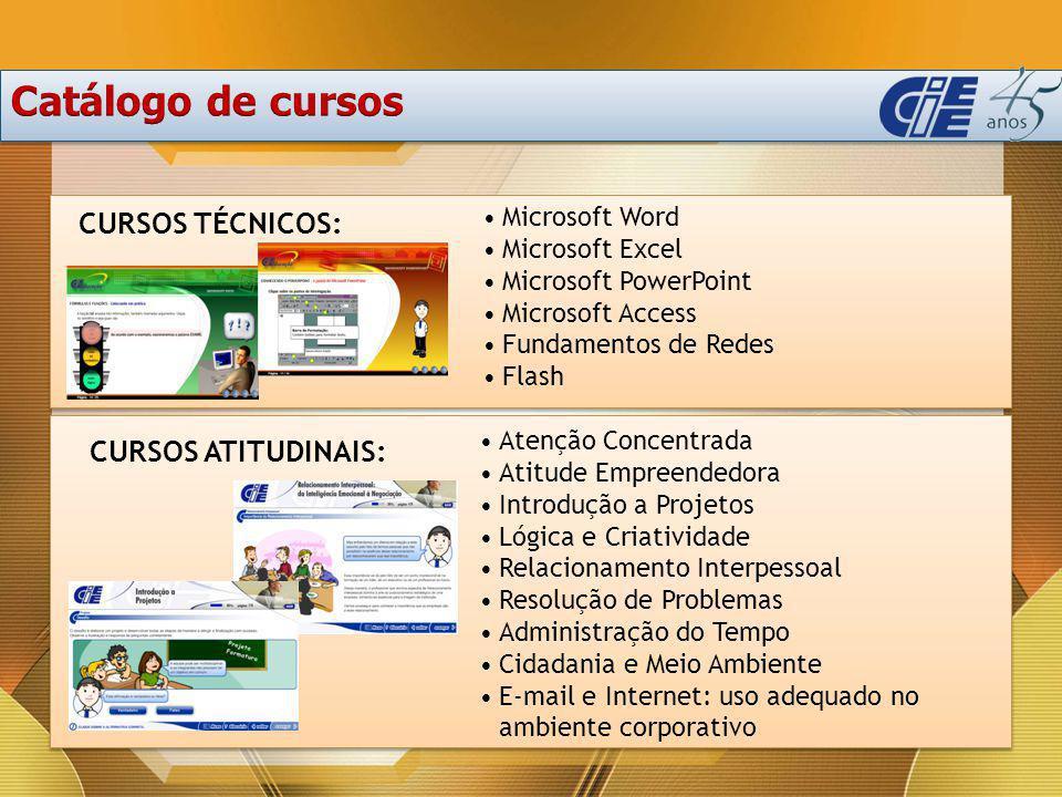 CURSOS TÉCNICOS: CURSOS ATITUDINAIS: Microsoft Word Microsoft Excel Microsoft PowerPoint Microsoft Access Fundamentos de Redes Flash Atenção Concentra