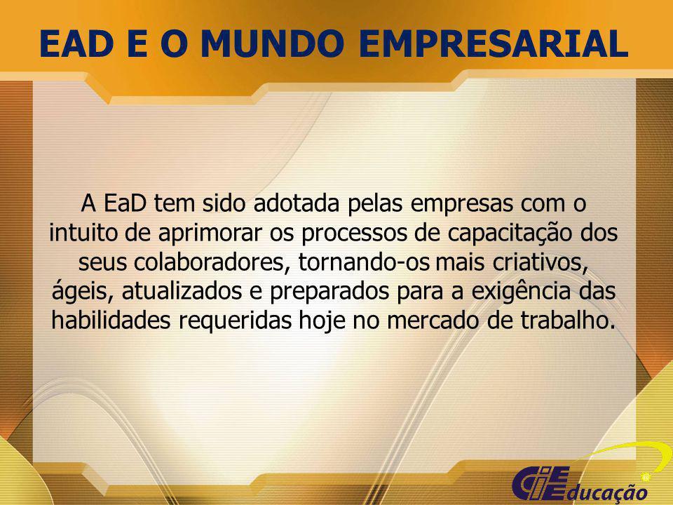 A EaD tem sido adotada pelas empresas com o intuito de aprimorar os processos de capacitação dos seus colaboradores, tornando-os mais criativos, ágeis
