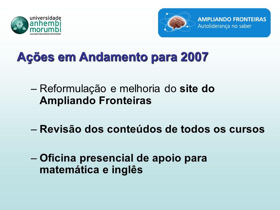 Ações em Andamento para 2007 –Reformulação e melhoria do site do Ampliando Fronteiras –Revisão dos conteúdos de todos os cursos –Oficina presencial de