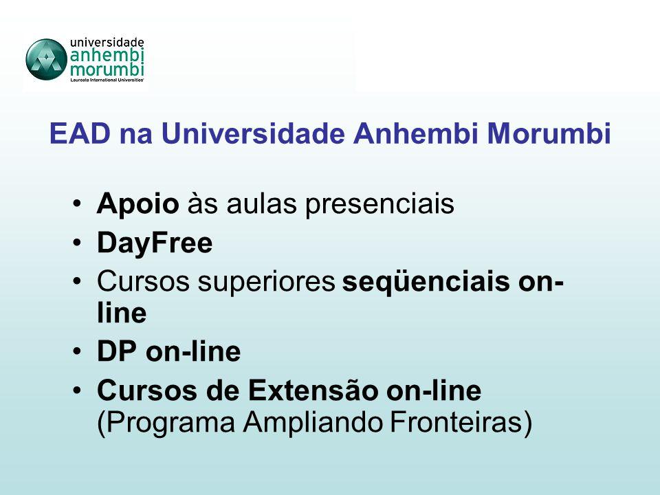 EAD na Universidade Anhembi Morumbi Apoio às aulas presenciais DayFree Cursos superiores seqüenciais on- line DP on-line Cursos de Extensão on-line (Programa Ampliando Fronteiras)