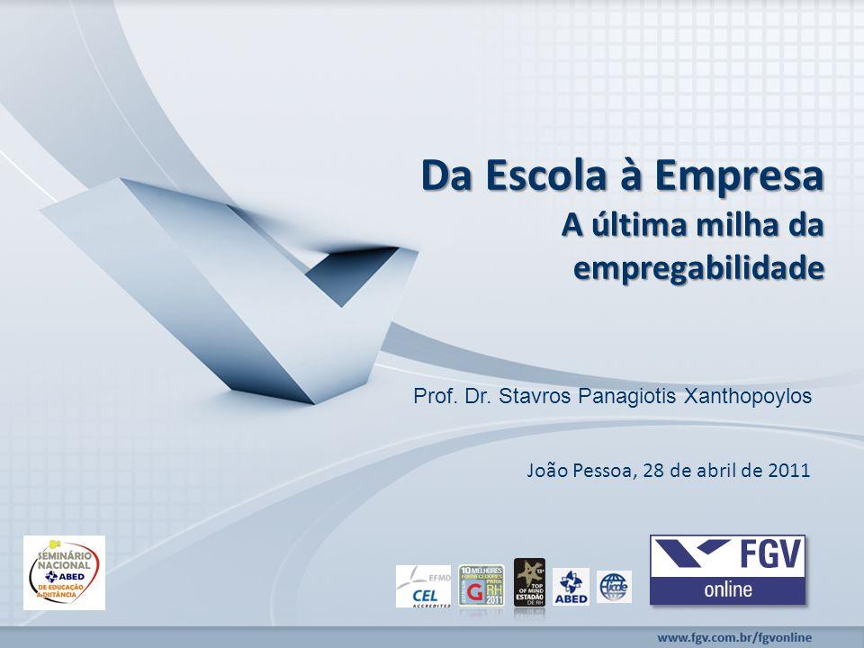 www.fgv.br/fgvonline Da Escola à Empresa A última milha da empregabilidade Prof.