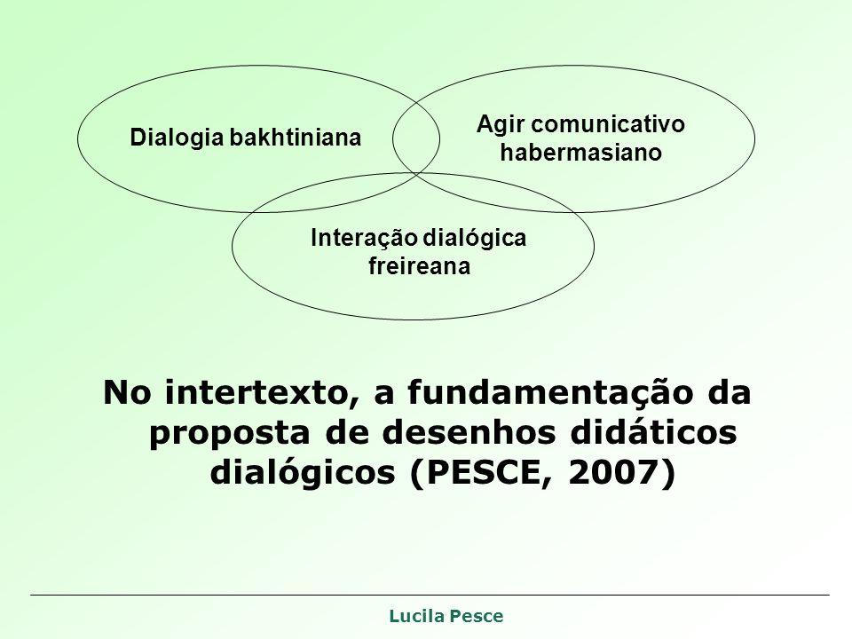 Lucila Pesce No intertexto, a fundamentação da proposta de desenhos didáticos dialógicos (PESCE, 2007) Dialogia bakhtiniana Interação dialógica freireana Agir comunicativo habermasiano