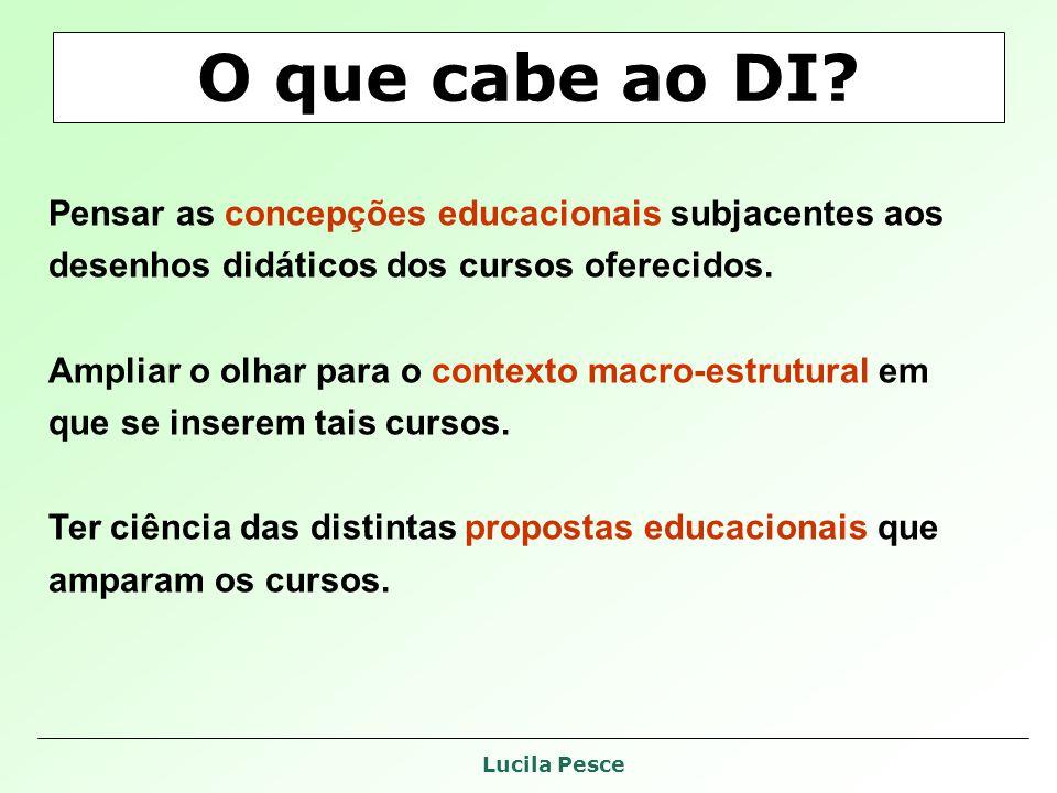 Lucila Pesce O que cabe ao DI? Pensar as concepções educacionais subjacentes aos desenhos didáticos dos cursos oferecidos. Ampliar o olhar para o cont