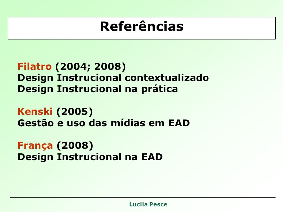 Lucila Pesce Filatro (2004; 2008) Design Instrucional contextualizado Design Instrucional na prática Kenski (2005) Gestão e uso das mídias em EAD França (2008) Design Instrucional na EAD Referências