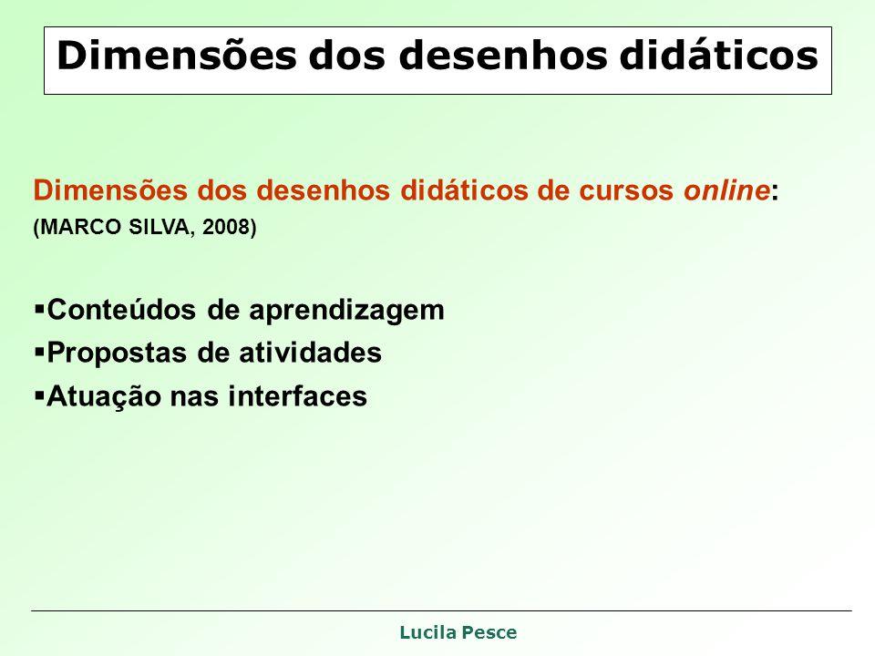 Lucila Pesce Dimensões dos desenhos didáticos Dimensões dos desenhos didáticos de cursos online: (MARCO SILVA, 2008) Conteúdos de aprendizagem Propostas de atividades Atuação nas interfaces
