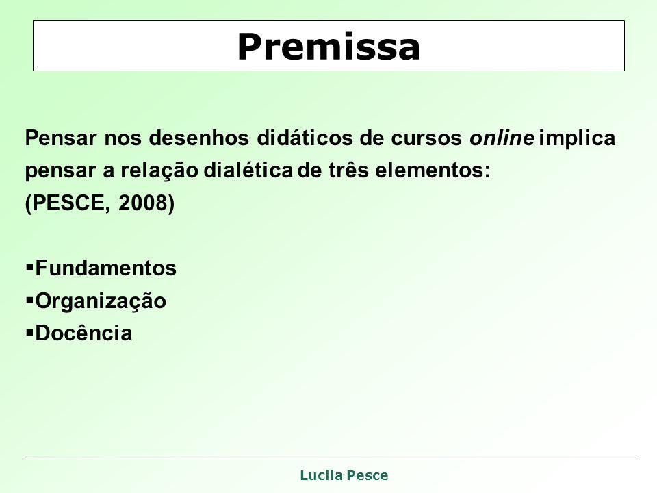 Lucila Pesce Premissa Pensar nos desenhos didáticos de cursos online implica pensar a relação dialética de três elementos: (PESCE, 2008) Fundamentos Organização Docência