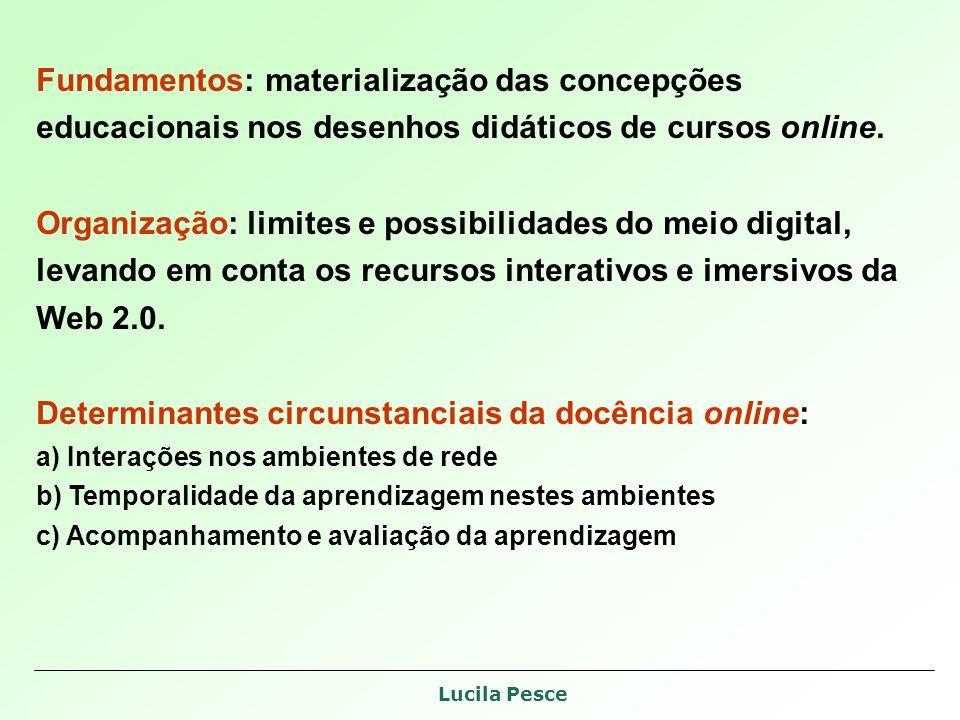 Lucila Pesce Fundamentos: materialização das concepções educacionais nos desenhos didáticos de cursos online.