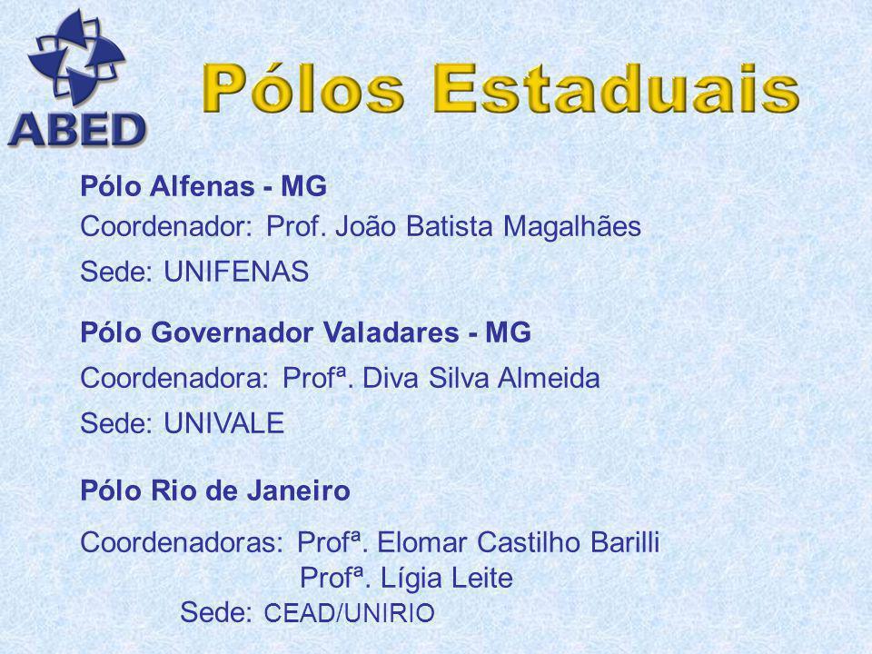 Pólo Ribeirão Preto Coordenadora: Profª. Maria Paulina de Assis Sede: Faculdades COC Pólo Espírito Santo Coordenador: Prof. Luiz César de Aquino e Lel