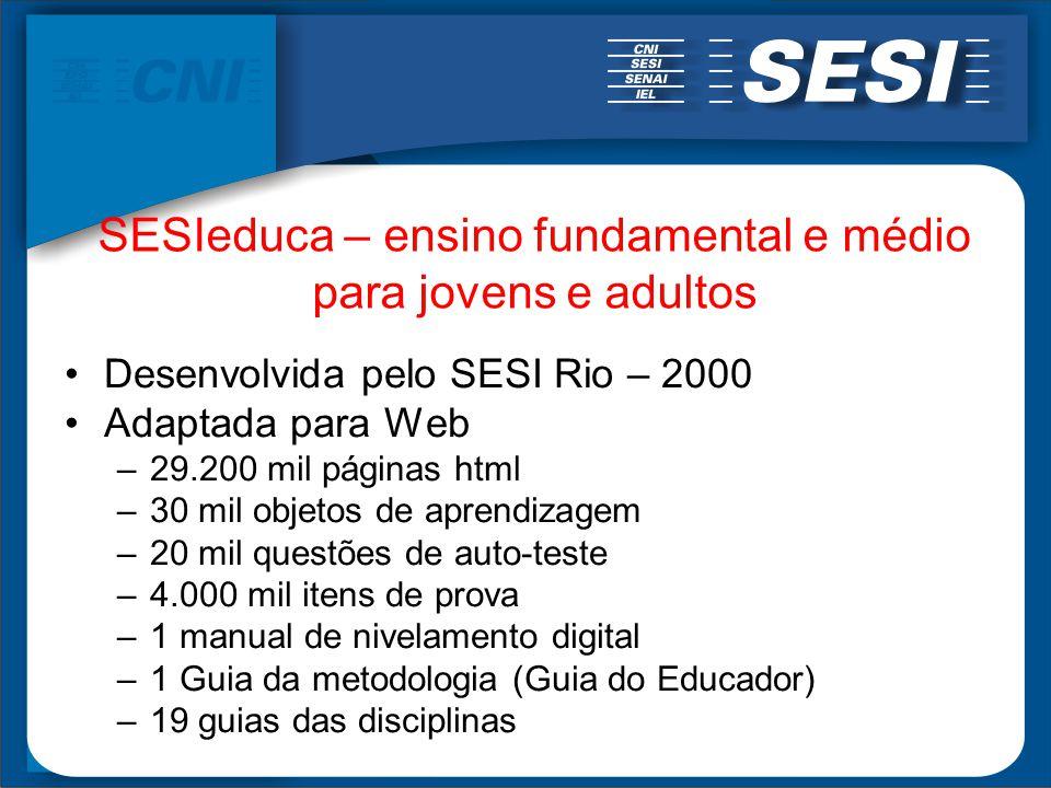 SESIeduca – ensino fundamental e médio para jovens e adultos Desenvolvida pelo SESI Rio – 2000 Adaptada para Web –29.200 mil páginas html –30 mil obje