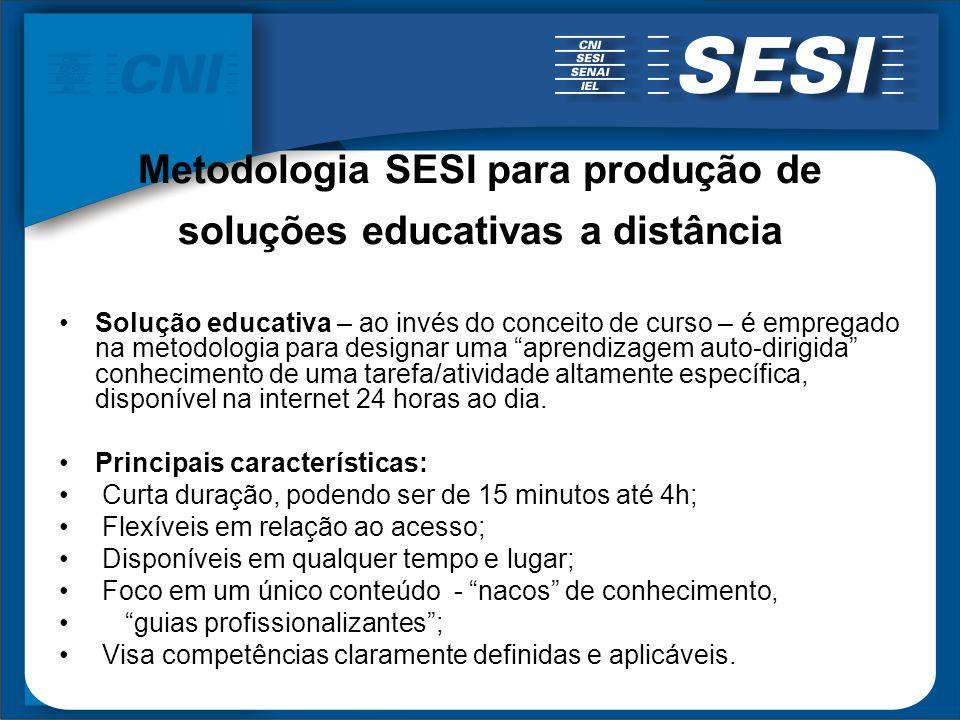 Metodologia SESI para produção de soluções educativas a distância Solução educativa – ao invés do conceito de curso – é empregado na metodologia para