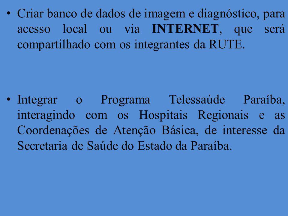 Criar banco de dados de imagem e diagnóstico, para acesso local ou via INTERNET, que será compartilhado com os integrantes da RUTE. Integrar o Program
