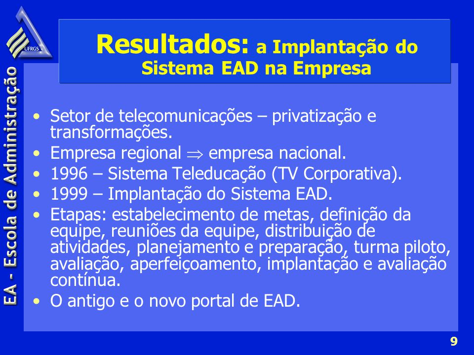 9 Resultados: a Implantação do Sistema EAD na Empresa Setor de telecomunicações – privatização e transformações. Empresa regional empresa nacional. 19