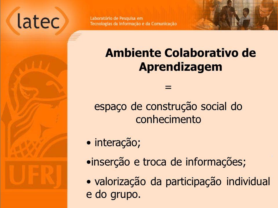 Ambiente Colaborativo de Aprendizagem interação; inserção e troca de informações; valorização da participação individual e do grupo. = espaço de const