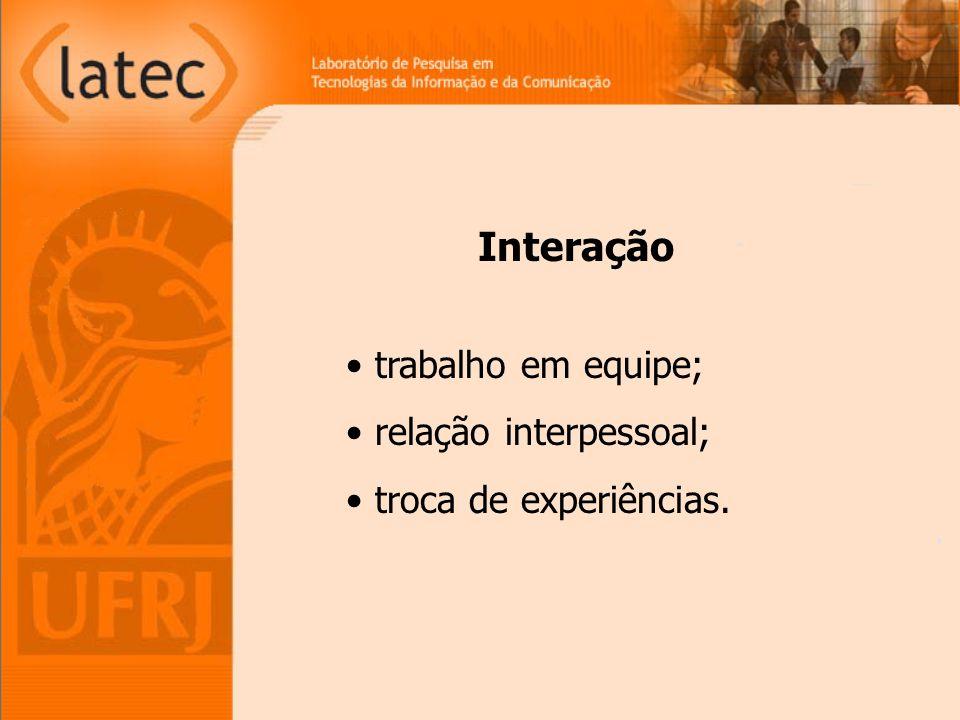 trabalho em equipe; relação interpessoal; troca de experiências. Interação