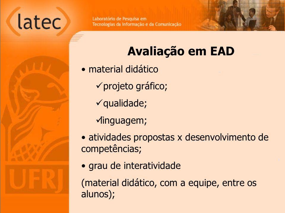 Avaliação em EAD material didático projeto gráfico; qualidade; linguagem; atividades propostas x desenvolvimento de competências; grau de interatividade (material didático, com a equipe, entre os alunos);